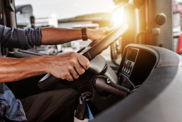 Truck driver holding steering wheel