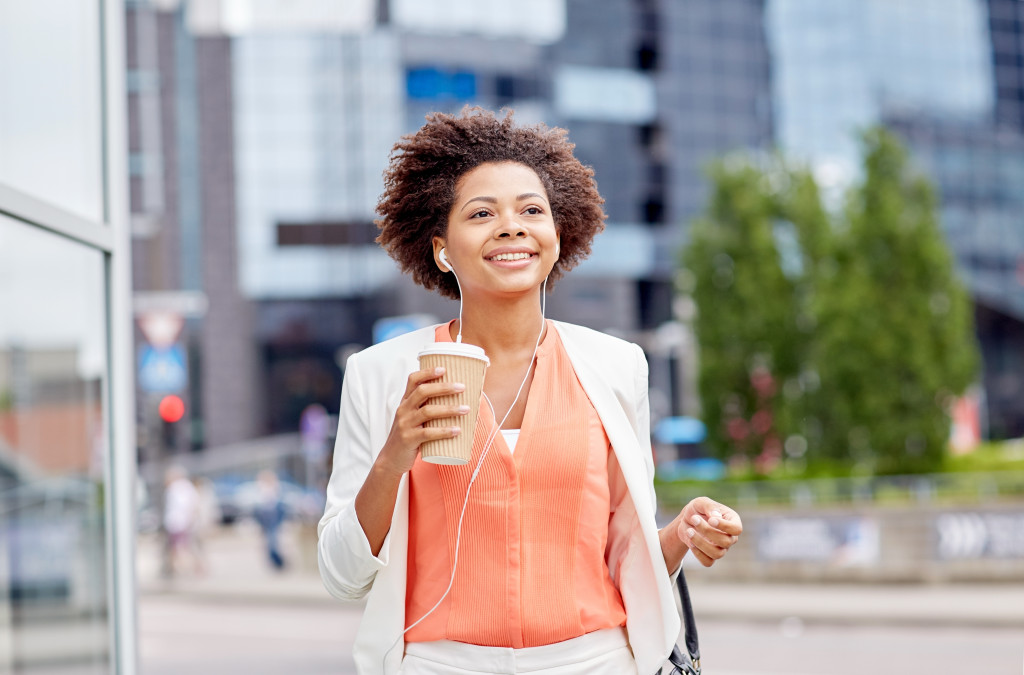 young woman on her way to work