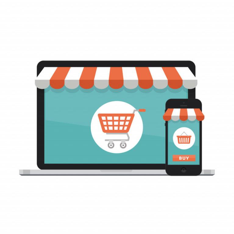 an illustration depicting online stores